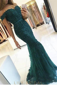 Elegant Lace Off Shoulder Long Solid Tulle Mermaid Evening Dress with Sweep Train