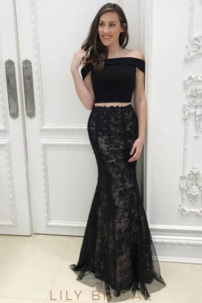 Lace Off Shoulder Two Piece Long Solid Mermaid Evening Dresses with Sweep Train