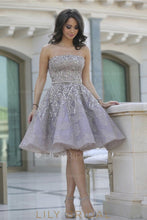 Backless Strapless Knee-Length Sequinned Organza Cocktail Dress