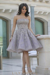 Lavender Backless Strapless Knee-Length Sequinned Organza Cocktail Dress