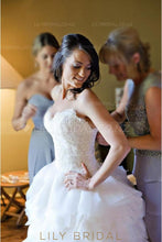Elegant Lace Ruffles Straps Sleeveless Long Solid Ball Wedding Gown with Court Train