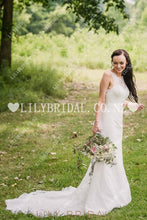 Lace Illusion Scalloped Edge Neck Sleeveless Backless Long Wedding Dress with Court Train