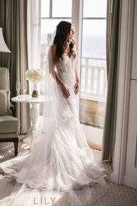 Elegant Lace Sweetheart Sleeveless Long Solid Mermaid Wedding Dress with Court Train