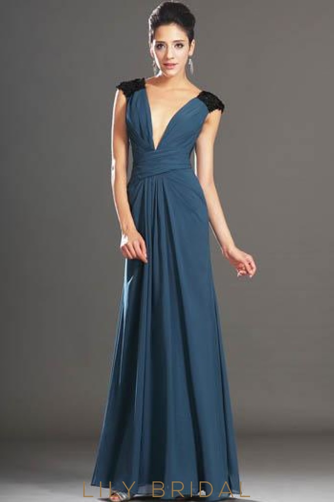 Elegant Low V-Neck Sleeveless Floor-Length Ruched Chiffon Formal Evening Dress