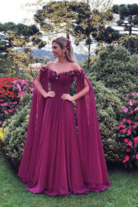 Elegant Off Shoulder Long Sleeves Long Solid Pleated Chiffon Evening Dress