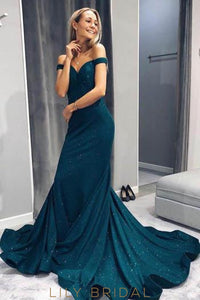 Elegant Off Shoulder Long Solid Sheath Evening Dress with Court Train
