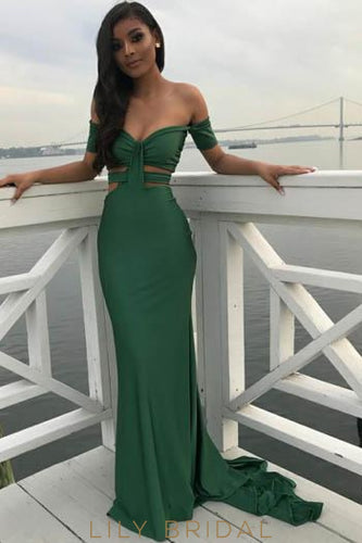 Elegant Off Shoulder Short Sleeves Long Solid Sheath Evening Dress with Sweep Train