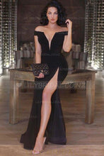 Elegant Off Shoulder Zipper-Up Floor-Length Solid Slit Sheath Evening Dress