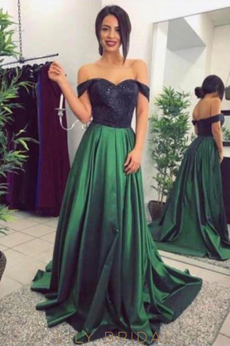 Elegant Off Shoulder Zipper-Up Long Pleated Satin Evening Dress with Sweep Train