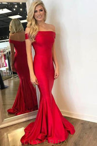 Elegant Off Shoulder Zipper-Up Long Solid Mermaid Evening Dress with Sweep Train