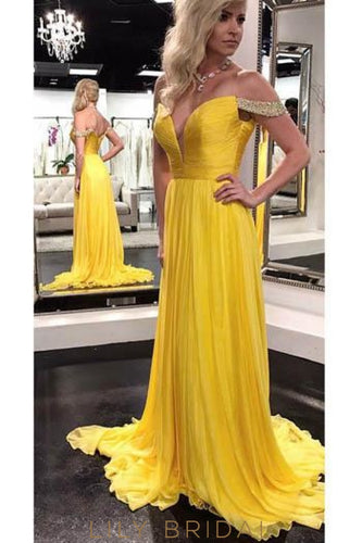 Off Shoulder Zipper-Up Long Solid Ruched Chiffon Evening Dress with Court Train