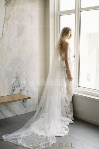 Elegant One Layer Chapel Veil in Silk Effect Tulle