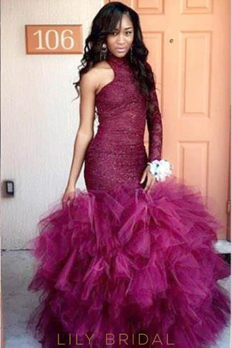 Elegant Lace One Shoulder Floor-Length Stretch Tulle Mermaid Prom Dress