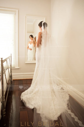 Elegant One-Tier Cathedral Bridal Veil With Lace along the Edge