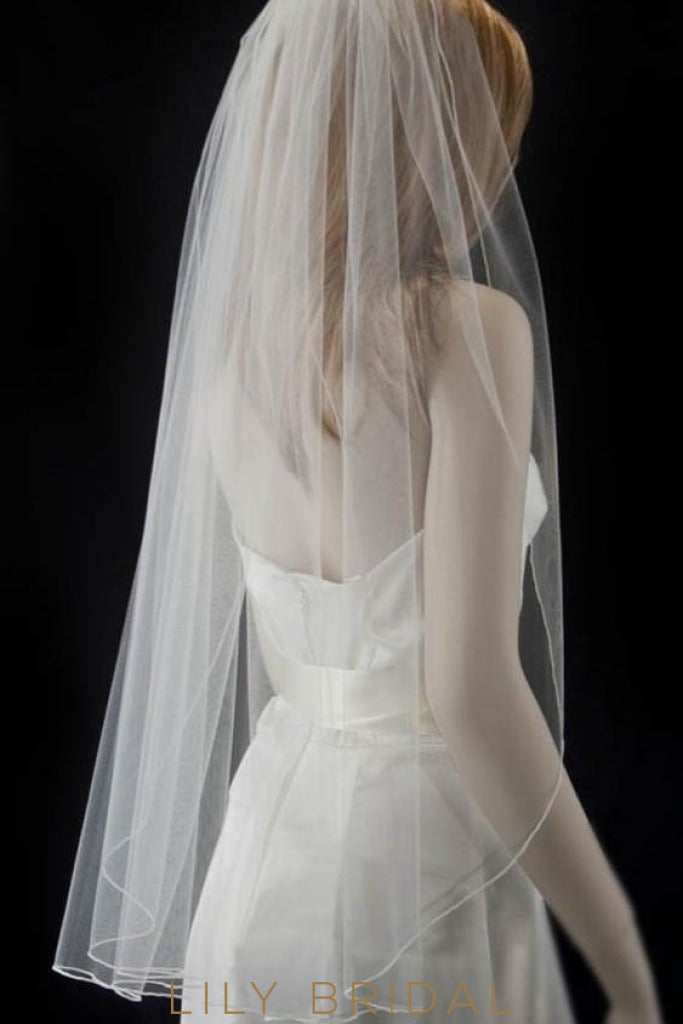 one tier bridal veil