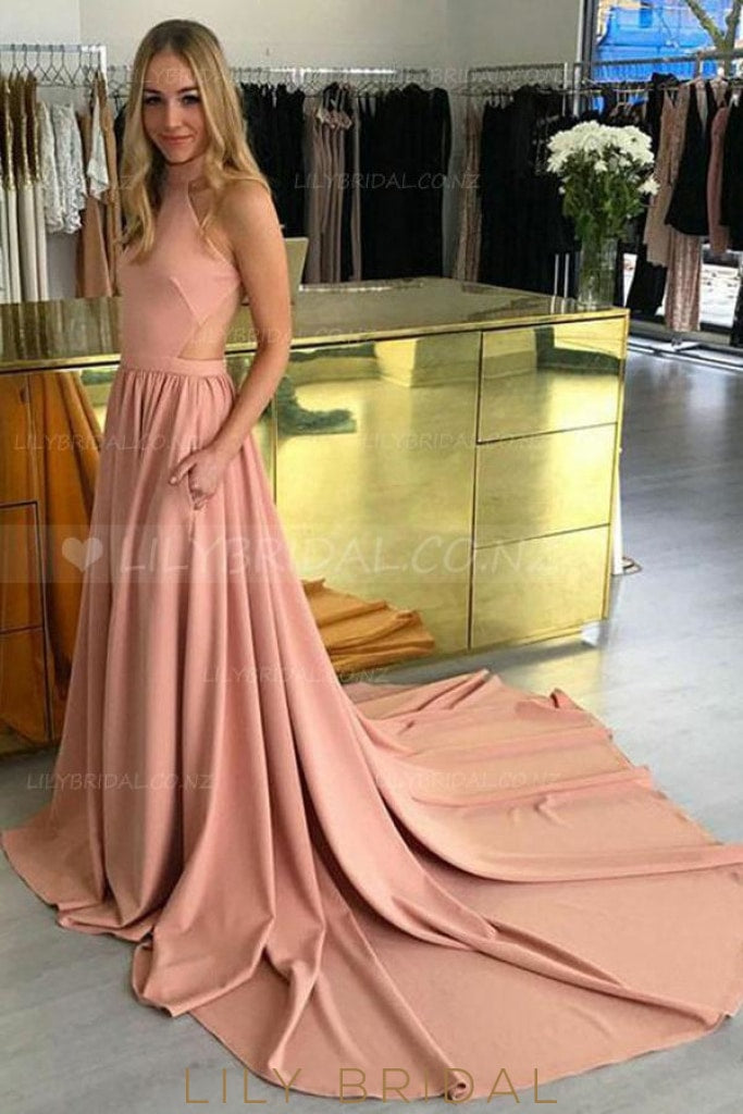 High Neck Sleeveless Open Back Long Solid Pleated Evening Dress with Court Train