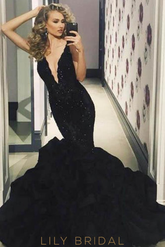 Elegant Plunge Neck Sleeveless Long Solid Stretch Mermaid Prom Dress