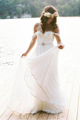 Elegant Rhinestone Off Shoulder Long Solid Ruched Chiffon Wedding Gown