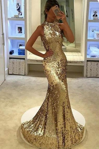 Sequin Scoop Neck Sleeveless Long Solid Mermaid Evening Dress with Sweep Train