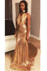 Elegant Sequin V-Neck Sleeveless Long Solid Sheath Prom Dress with Court Train