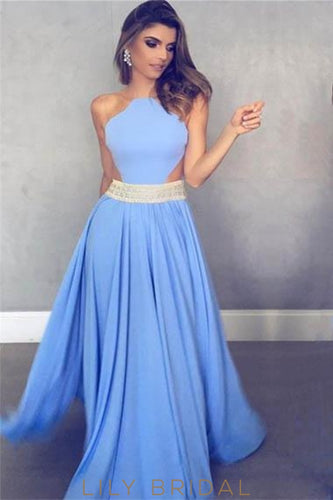 Elegant Sheer Neck Sleeveless Floor-Length Solid Pleated Evening Dress