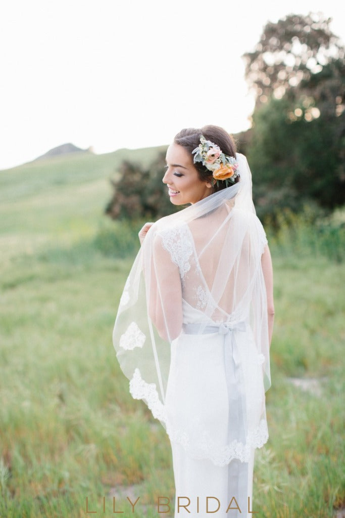 hip length bridal veil