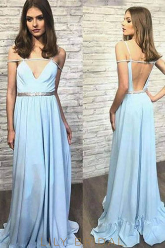 Elegant Spaghetti Straps Sleeveless Backless Long Solid Evening Dress