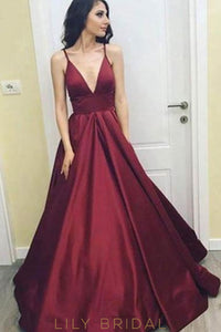 Elegant Spaghetti Straps Sleeveless Empire Floor-Length Solid Satin Evening Dress