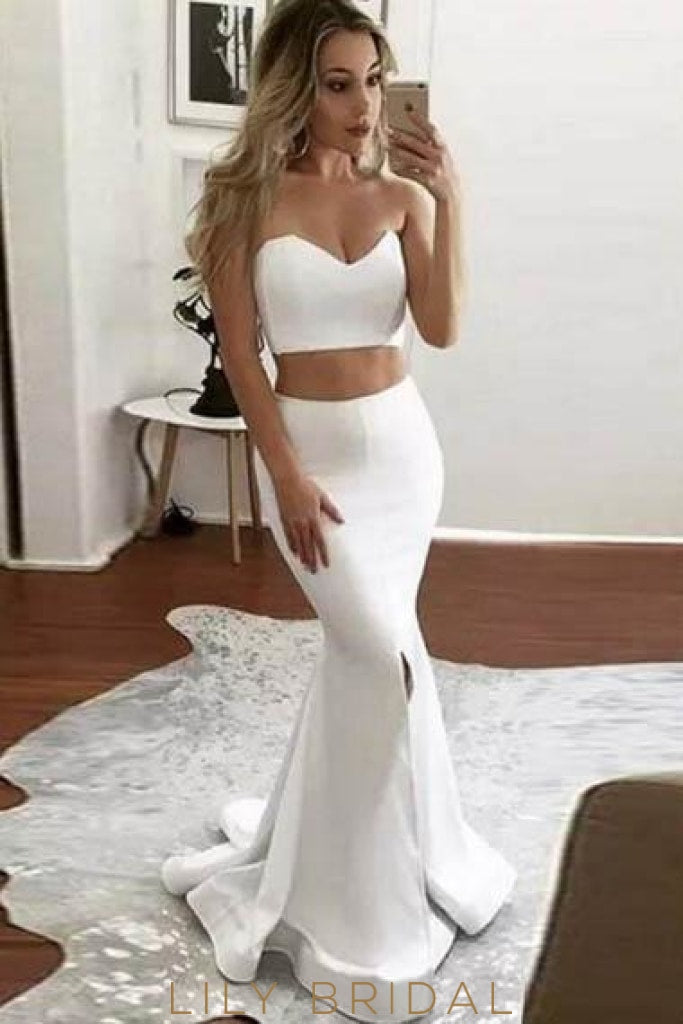 Elegant Sweetheart Sleeveless Two Piece Long Solid Mermaid Evening Dresses