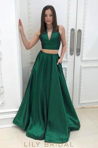 Elegant V-Neck Sleeveless Two Piece Floor-Length Solid Evening Dresses with Pockets