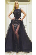 Embroidery Illusion Bateau Neck Sleeveless Long Solid Organza Evening Dress