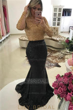 Embroidery Rhinestone Illusion Sheer Neck Long Sleeves Long Mermaid Evening Dress