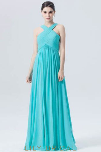 Empire Waist Criss-Cross Neckline Chiffon Floor-Length Bridesmaid Dress With Ruching