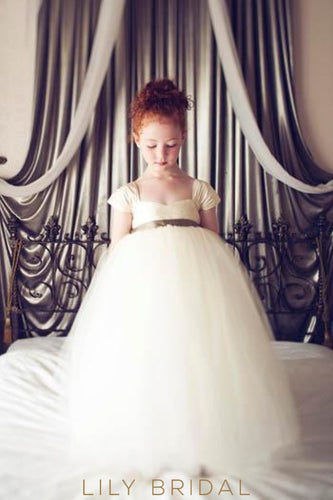 Empire Waist Floor-Length Ivory Tulle Ball Gown Flower Girl Dress With Cap Sleeve