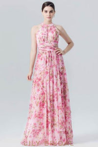Empire Waist Halter Floral Print Chiffon Evening Dress