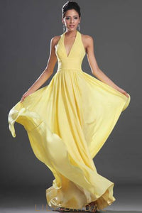 Empire Waist Halter V-Neck A-Line Floor-Length Pleated Chiffon Evening Dress With Ruched Top