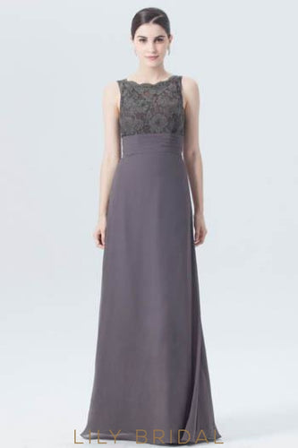 Empire Waist Jewel Neck Floor-Length Chiffon Formal Evening Dress With Lace Bodice