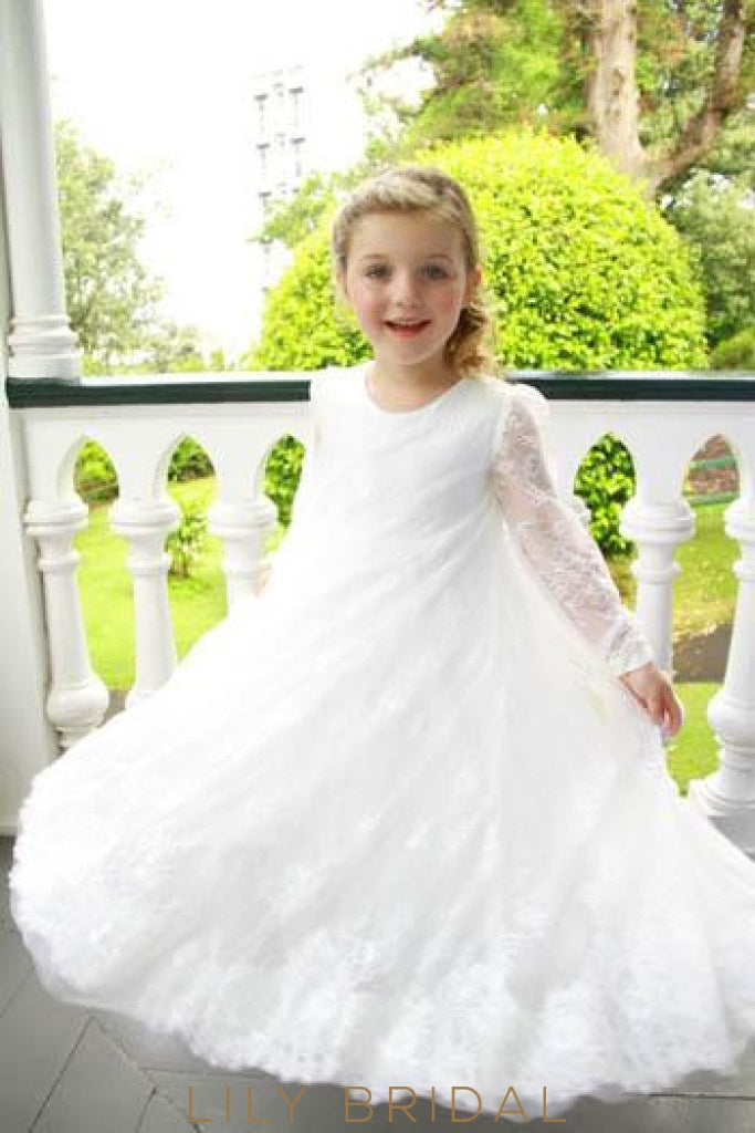 Empire Waist Long Sleeve Floor-Length Lace Tulle Flower Girl Dress