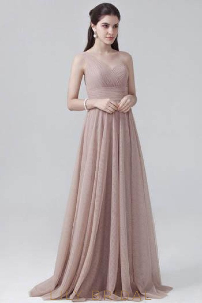 Empire Waist One-Shoulder Sweep Train Evening Dress With Ruched Bodice