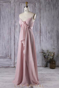 Empire Waist Spaghetti Strap Chiffon Overlap Bridesmaid Dress With Hand-Made Flowers