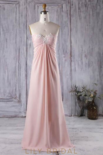 Empire Waist Strapless Sweetheart Chiffon Bridesmaid Dress With Applique