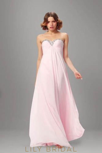 Empire Waist Strapless Sweetheart Pink Chiffon Bridesmaid Dress With Beads