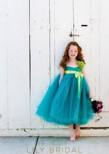 Empire Waist Sweetheart Neckline Tea-Length Ball Gown Tulle Flower Girl Dress With Sash & Corsage
