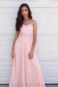 Empire Waist Sweetheart Strapless A-Line Long Prom Dress With Beads