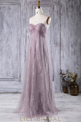 Empire Waist Sweetheart Strapless Lace Tulle Formal Bridesmaid Dress