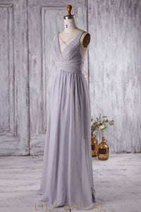 Empire Waist V-Neck Chiffon Criss Cross Bridesmaid Dress With Ruching