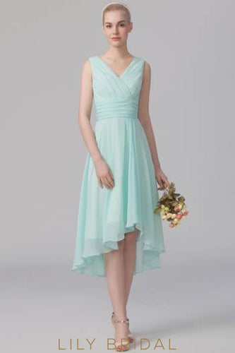 Empire Waist V-Neck Chiffon High-Low Formal Bridesmaid Dress With Ruching
