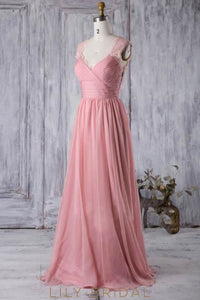Empire Waist V-Neck Ruched Chiffon Sweep Train Bridesmaid Dress With Lace