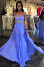 Empire Waist V-Neck Strap Backless Pleated Chiffon Prom Dress