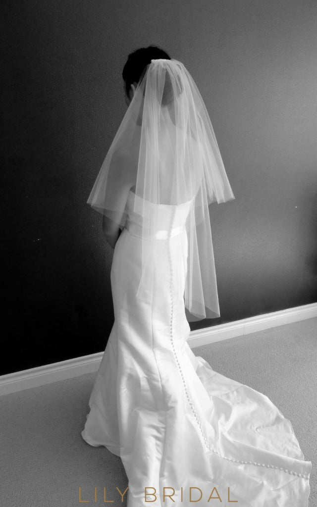 Double Tier Hip Veil in Silk Effect Tulle